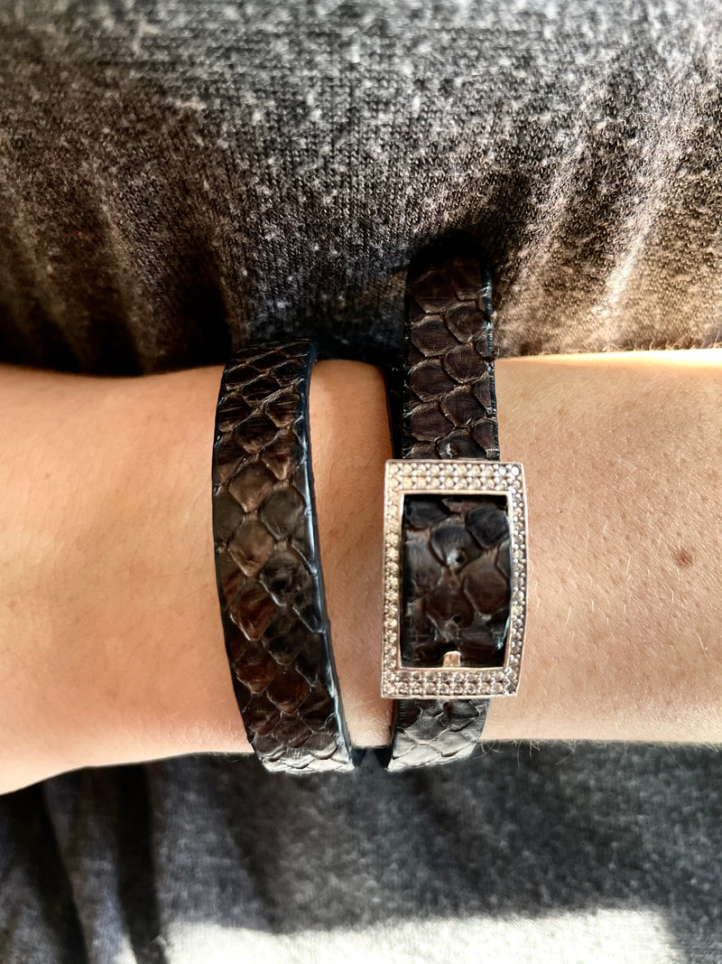 Croc Wrap Bracelet with Crystal Buckle
