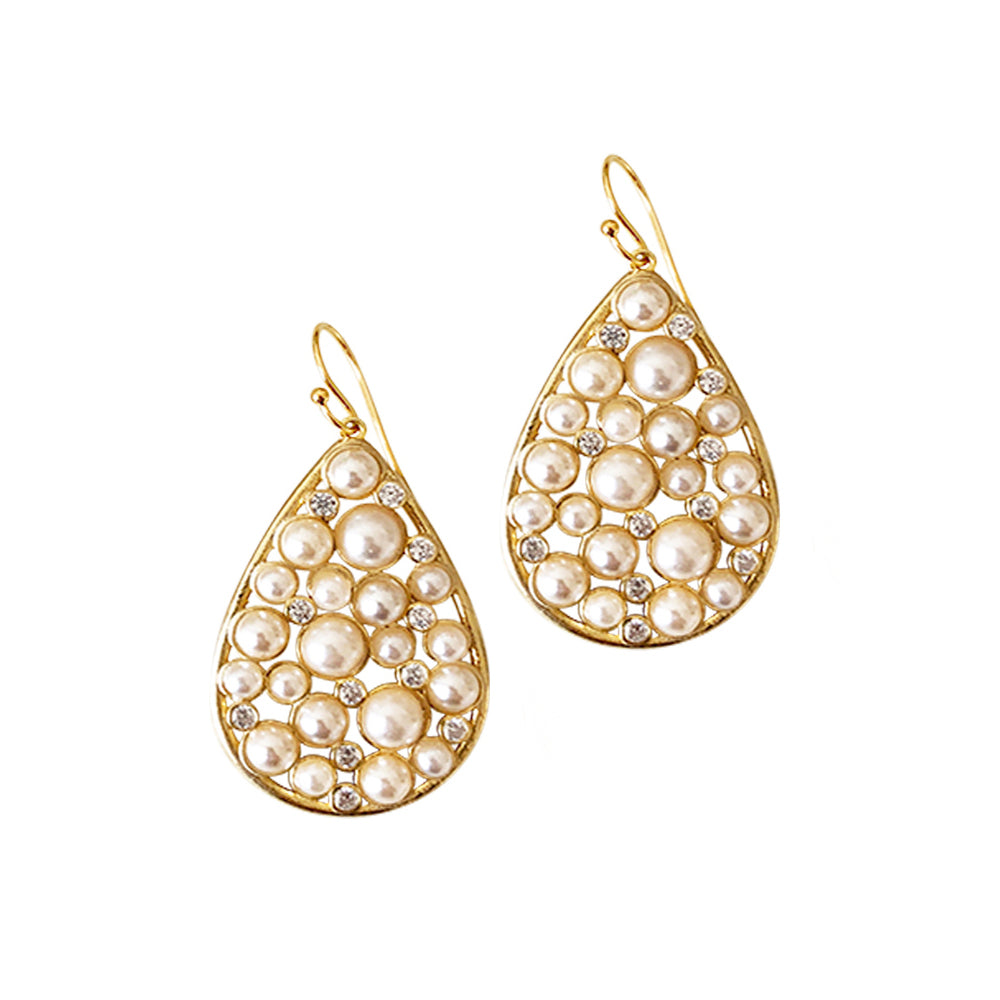 Pearl and Crystal Pear Drop Earring