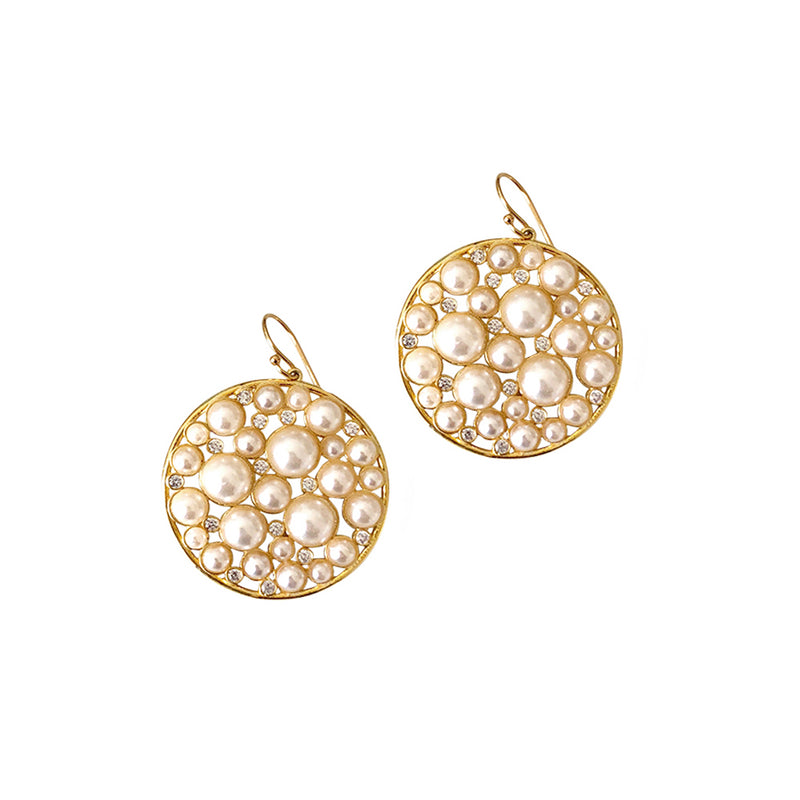 Pearl and Crystal Round Disk Earring