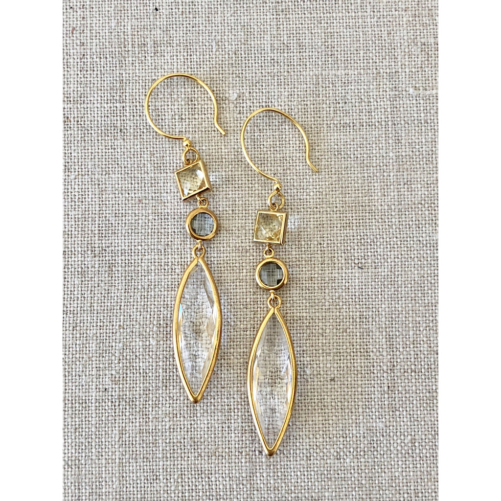 Sample Sale! Sea Jewels Charcoal/Lemon/Crystal Drop Earring