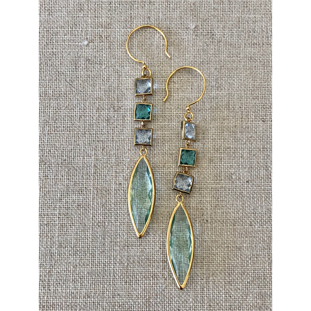 Sample Sale! Sea Jewels Blue/Green 3 Drop Earring