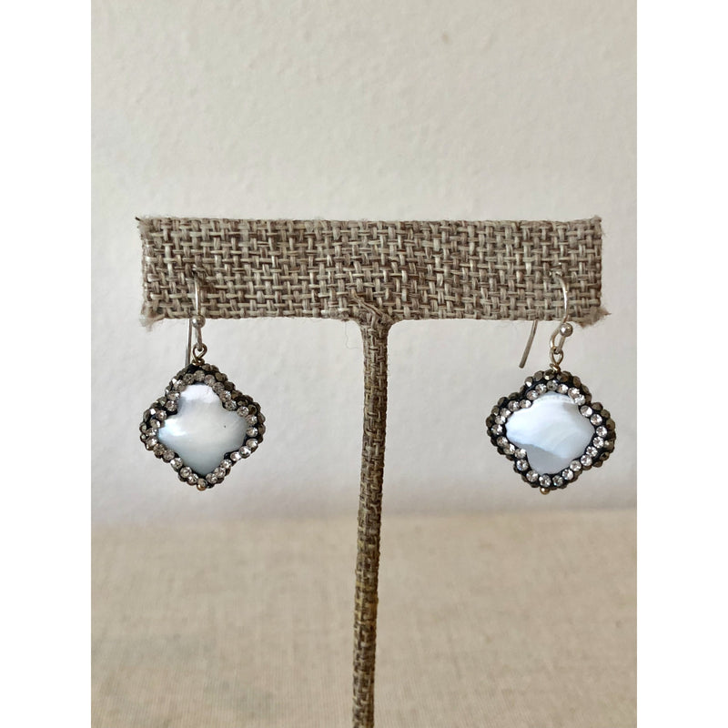 Sample Sale! Pearl and Gunmetal Crystal Clover Earring