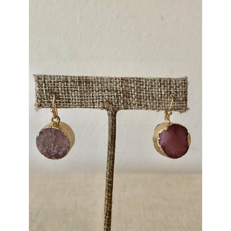 Sample Sale! Plum Druzy Earring