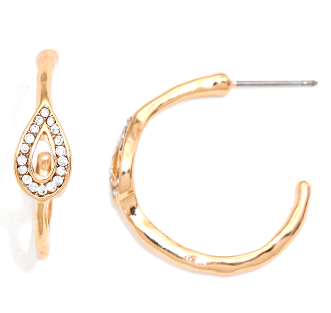 Sample Sale! Teardrop Crystal Pave Hoop