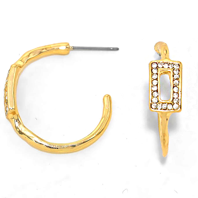 Sample Sale! Rectangle Pave Hoops