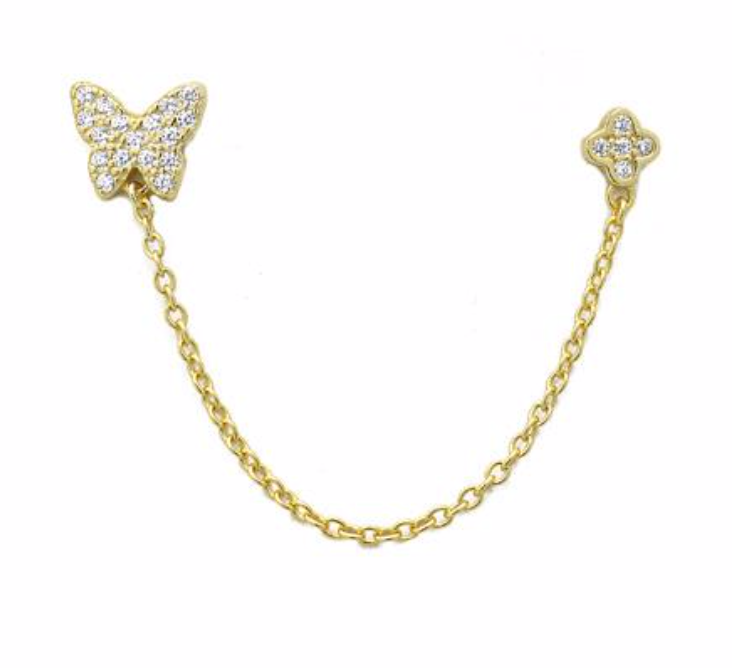 Gold CZ Pave Double Post Butterfly Earring