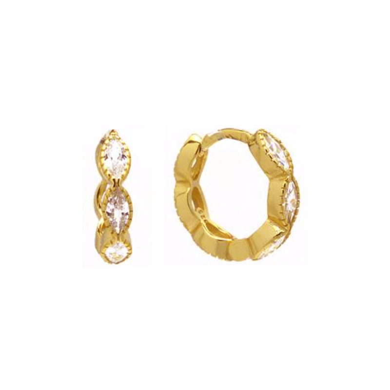 Gold Marquis CZ Huggie Earring