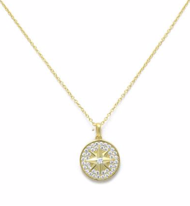 Gold Pave Starburst Necklace