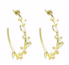 Gold CZ Leaf Hoop Earring