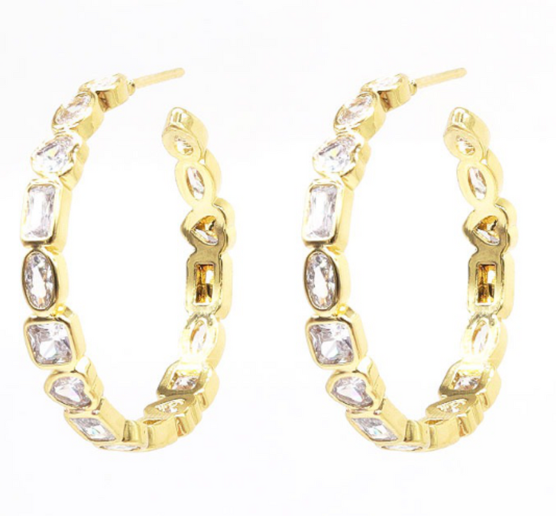 Gold Bezel Set CZ Hoop Earring
