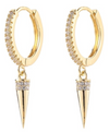 Gold CZ Pave Spike Dangle Earring