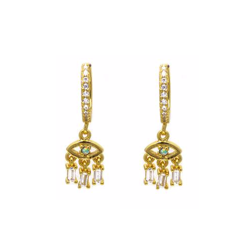 Gold CZ Evil Eye Dangle Earring
