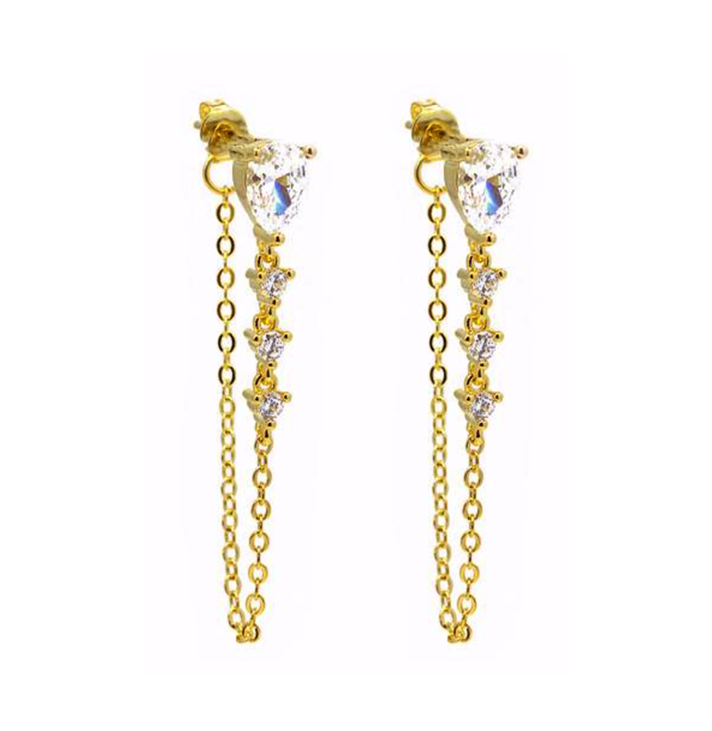 Gold Teardrop CZ Chain Earring