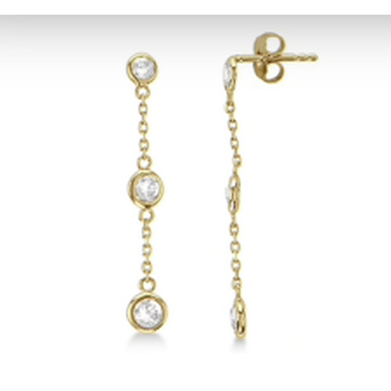 Bezel Chain and CZ Earring