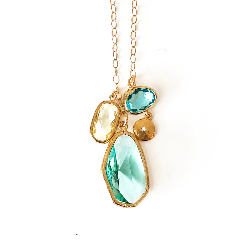 Sea Green Cluster Necklace