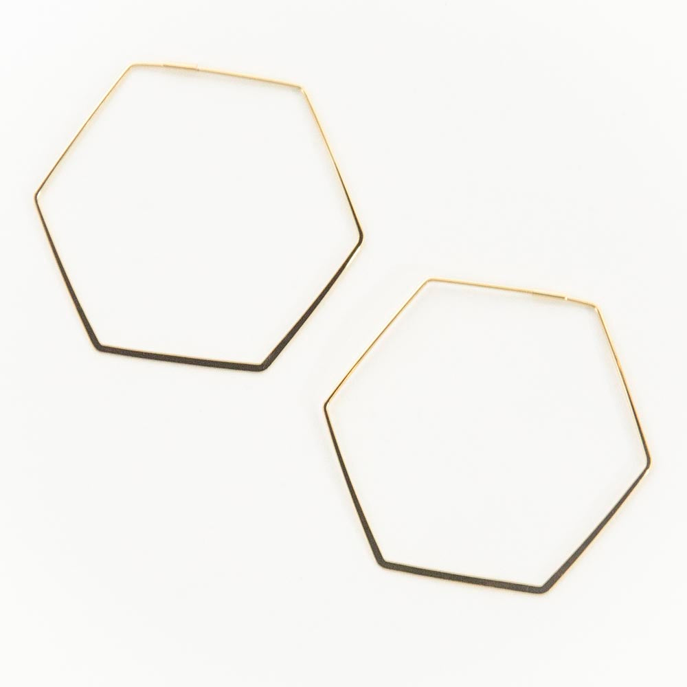 Hexagon Hoop-Gold