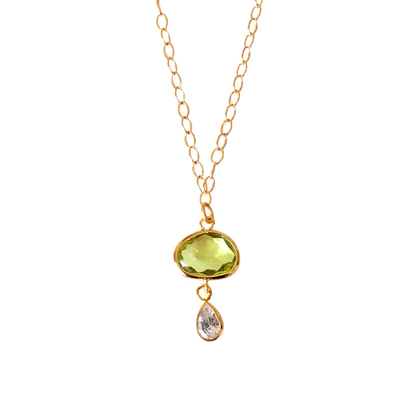 Citrine Green Drop Necklace with CZ
