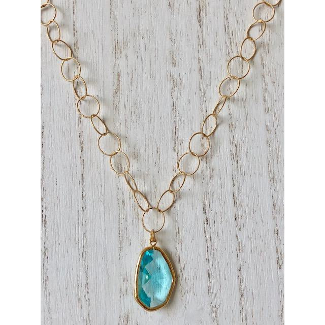 Sample Sale! Aquamarine Cut Stone Necklace