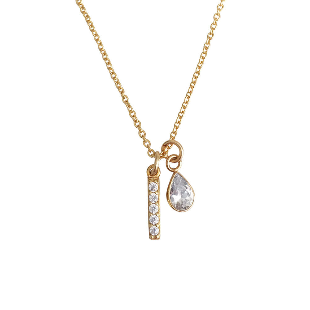 Mini Bar Necklace with CZ Drop