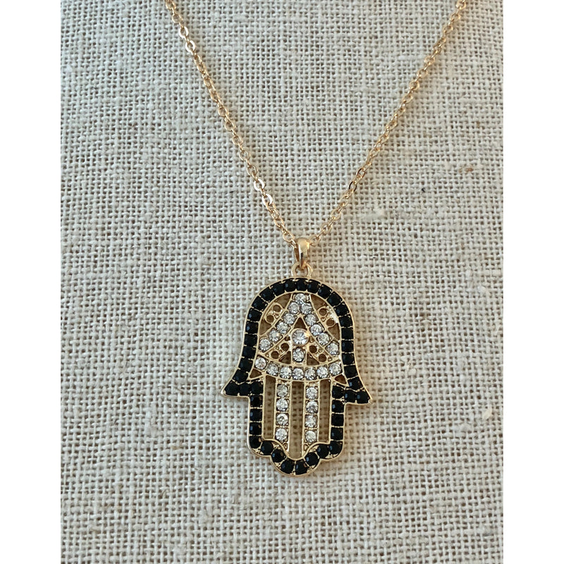 Sample Sale! Hamsa Necklace-Black