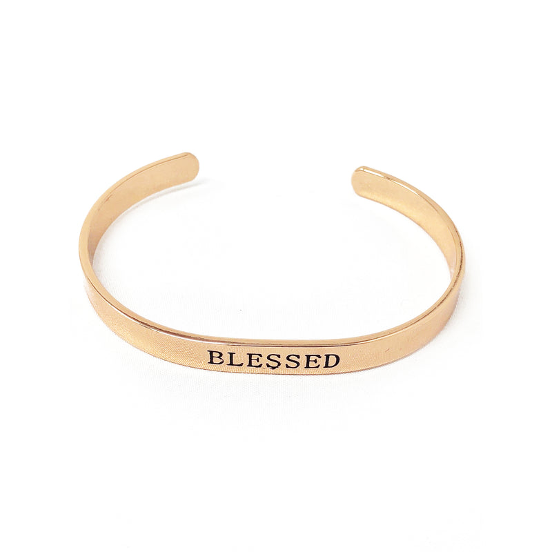 Blessed Cuff-Rose Gold Plate