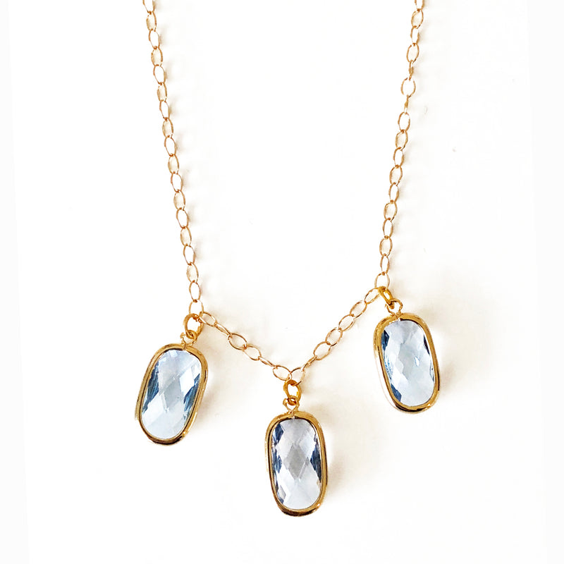 Sea Blue 3 Drop Necklace