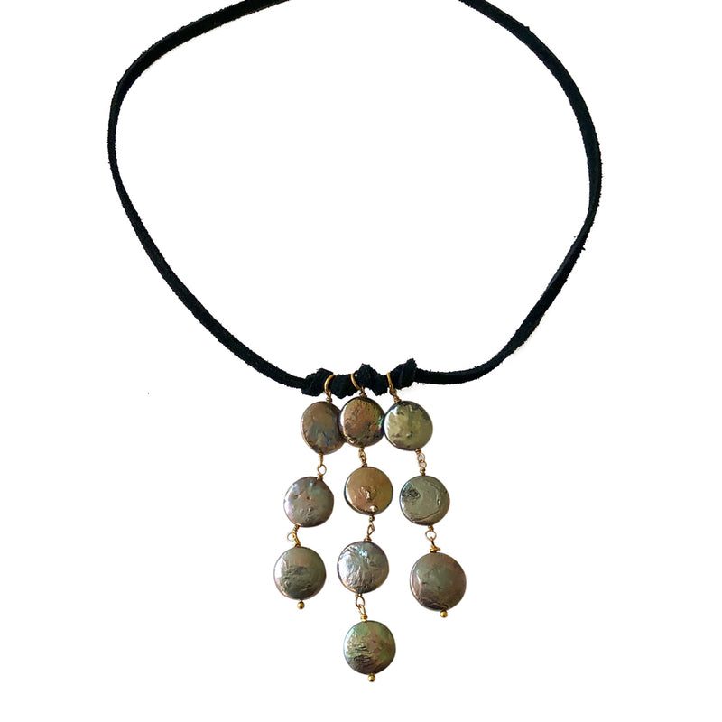 Leather Cascade Choker-Blue Coin Pearl