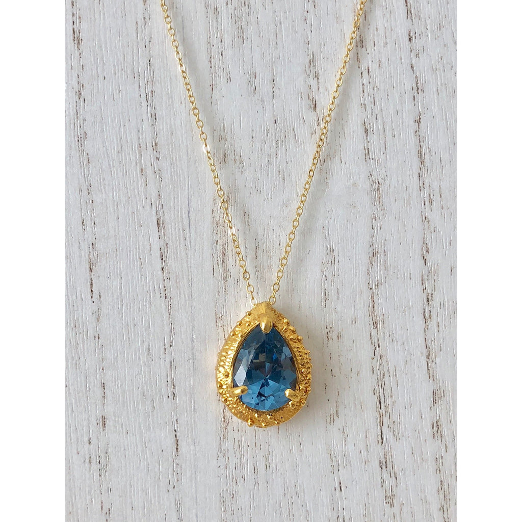 Sample Sale! French Blue CZ Drop Necklace