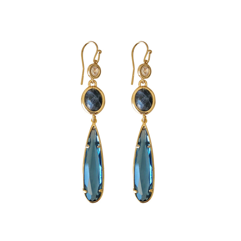 Sapphire Blue Crystal and Labdorite Drop Earring