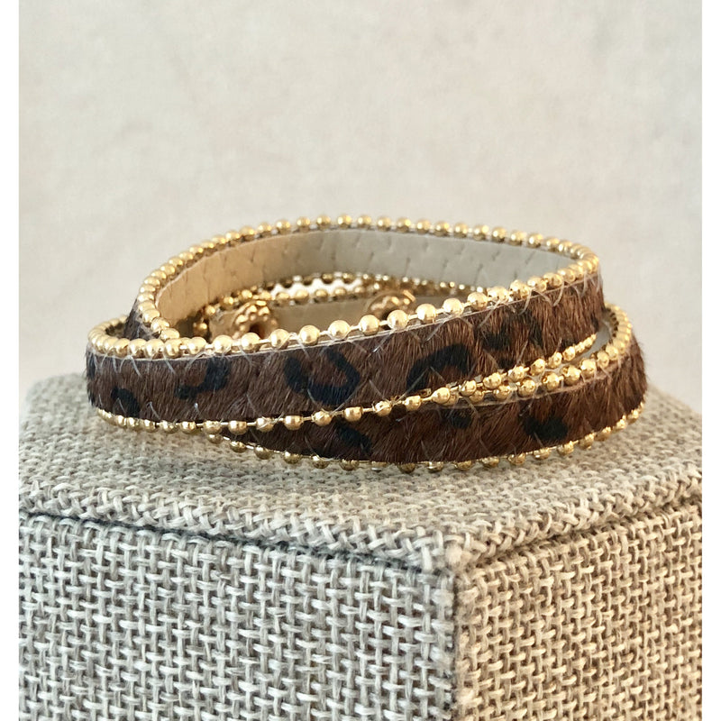 Sample Sale! Brown Leopard Wrap Bracelet