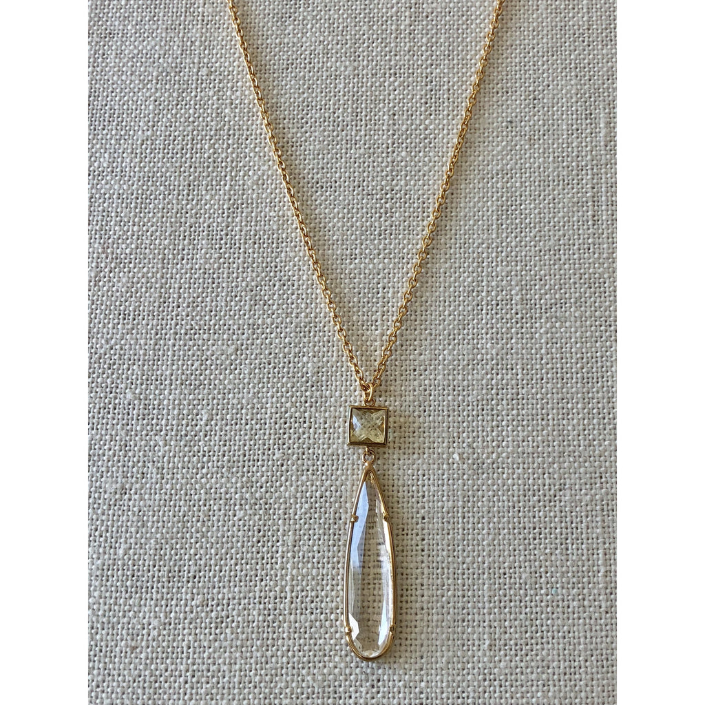 Sample Sale! Long Pear Pendant-Crystal/Lemon