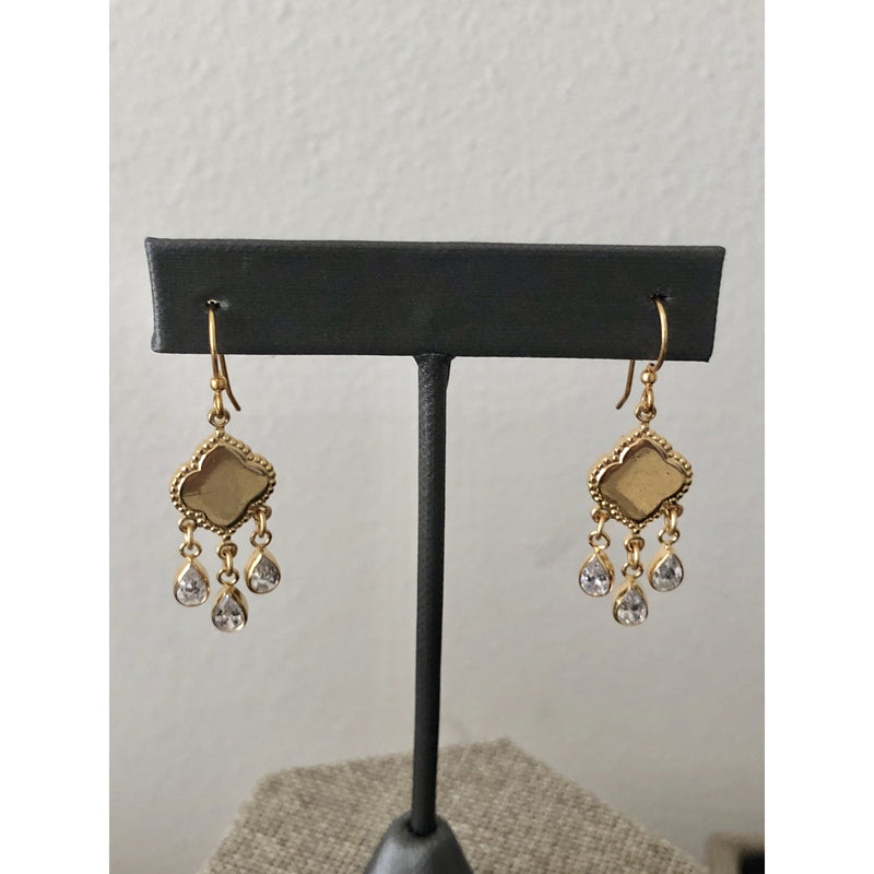 Sample Sale! Clover Drop Earring with CZ Drops