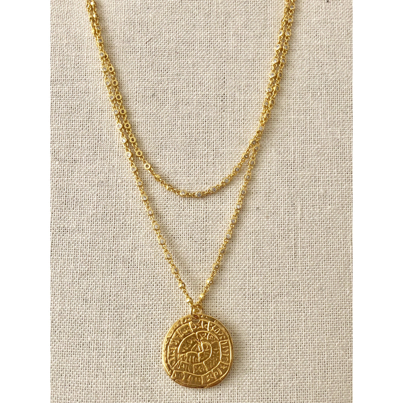 Sample Sale! CZ Chain Coin Necklace