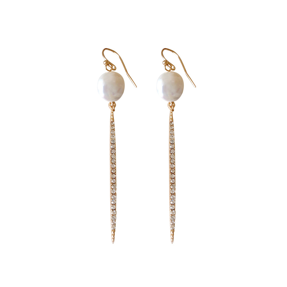 Ibiza Pearl and Gold Crystal Earring