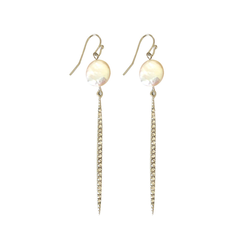 Ibiza Pearl and Silver Crystal Earring