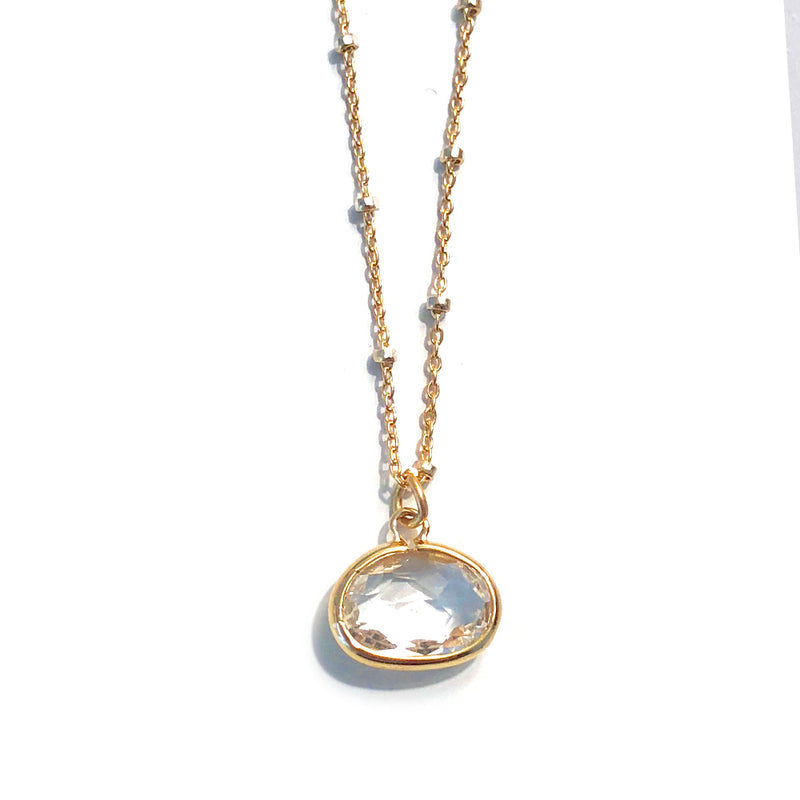 Oval Crystal Drop Necklace
