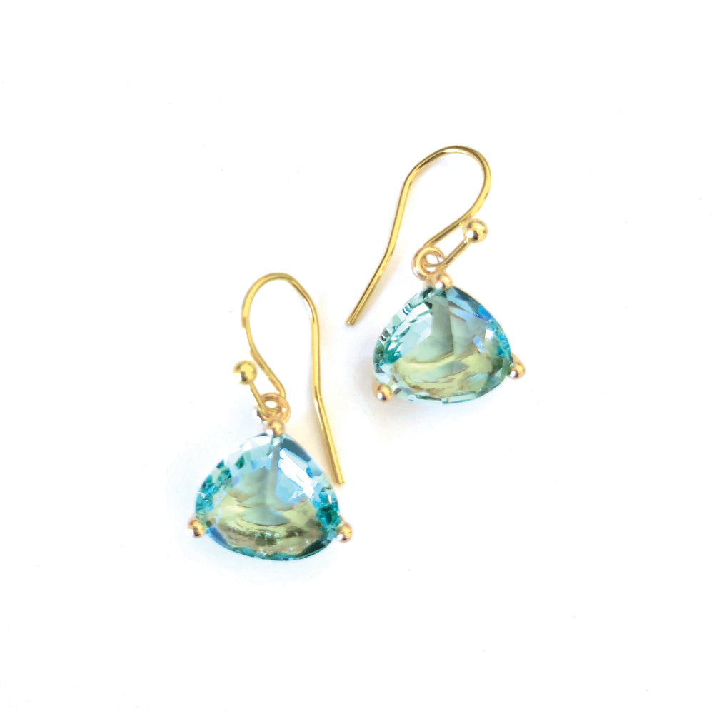Everyday Crystal Earring Sea Green/Gold