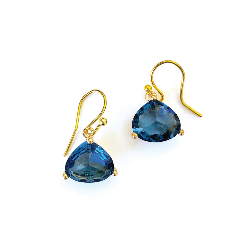 Everyday Crystal Earring Navy/Gold