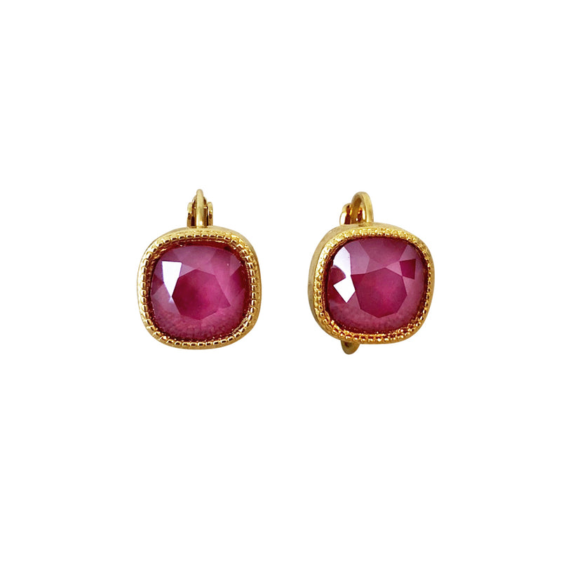 Cushion Cut Swarovski Earring-Gold