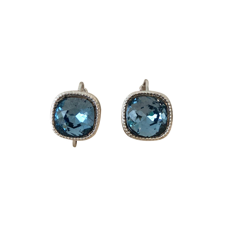 Cushion Cut Swarovski Earring-Rhodium