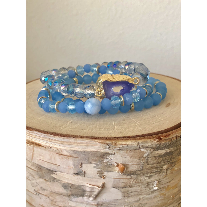 Holiday Druzy Stack-Blue