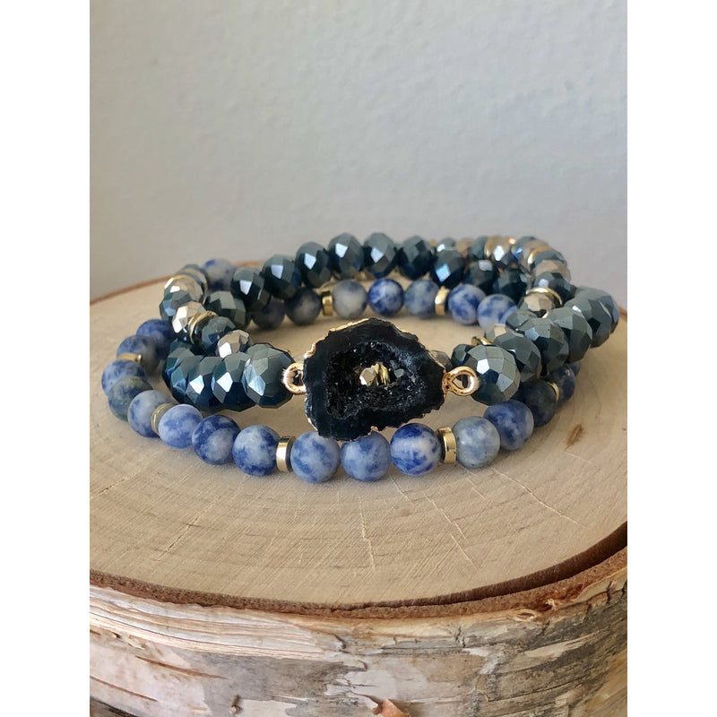 Holiday Druzy Stack-Denim