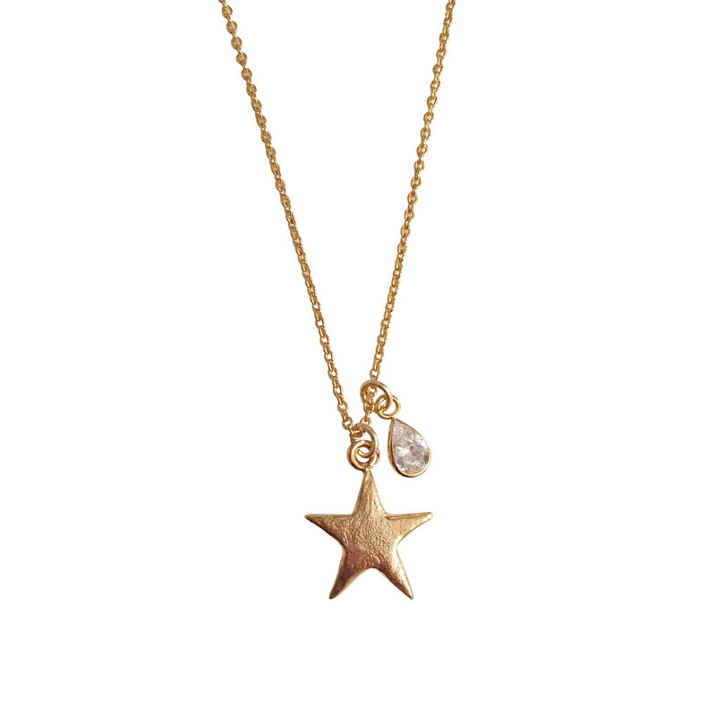 Star Necklace with CZ Drop