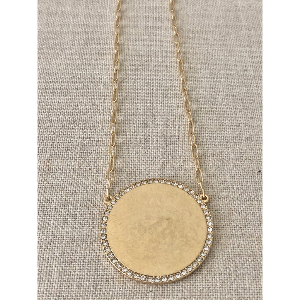 Sample Sale! Gold Crystal Disk Necklace