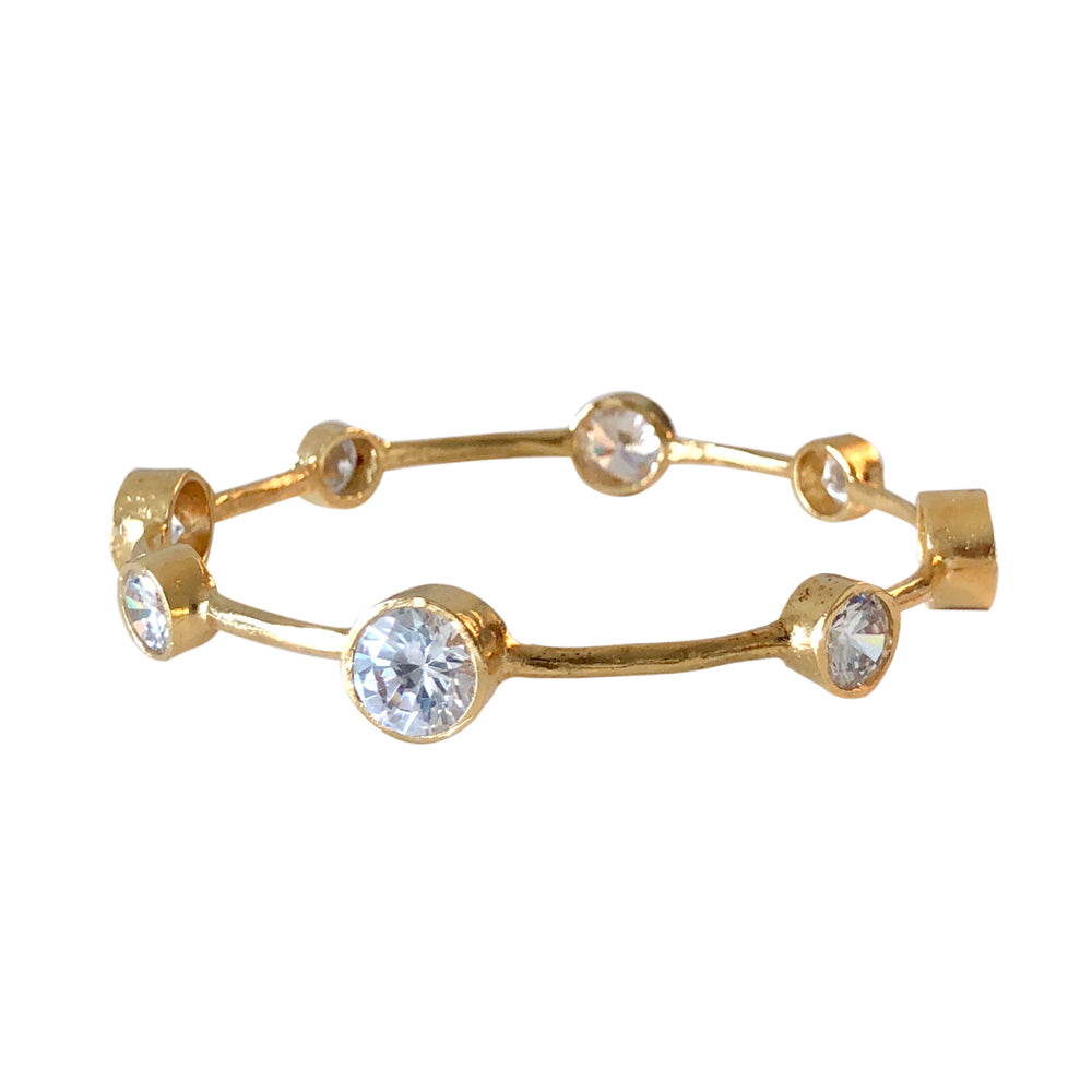 Hammered Gold Vermeil CZ Bangle