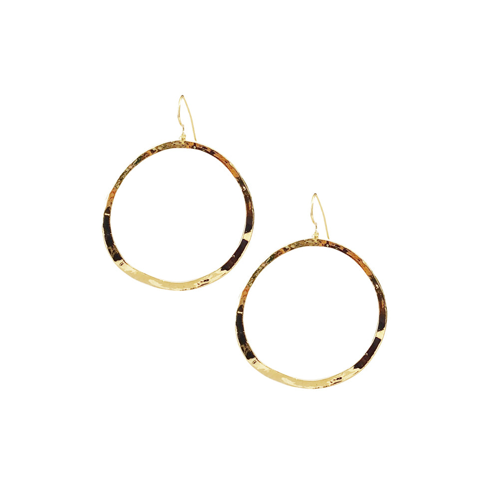 Hammered Ear Wire Hoop