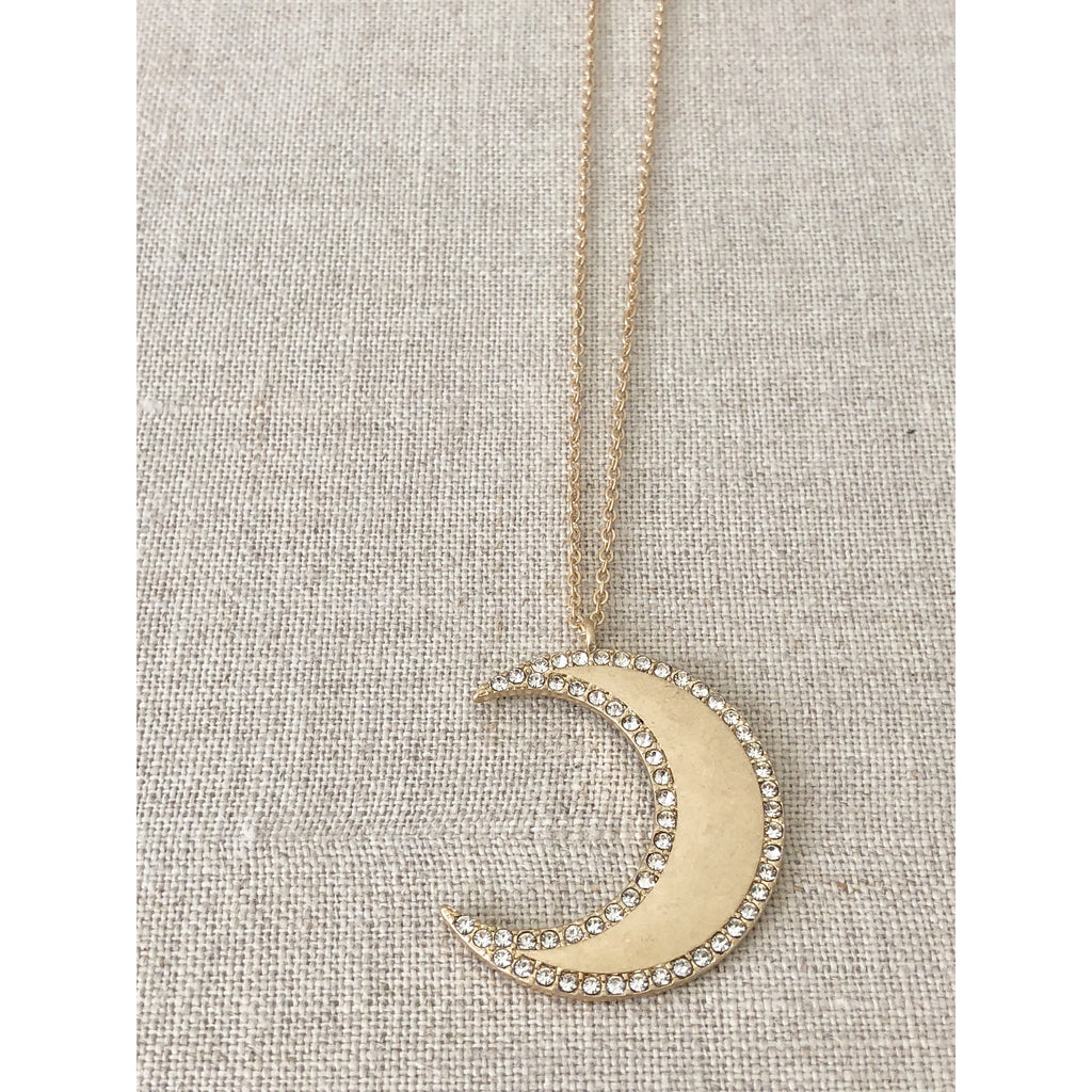 Sample Sale! Gold Crystal Crescent Moon Necklace