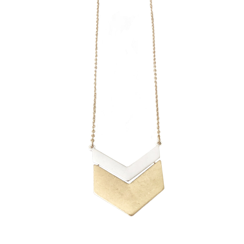 Sample Sale! Gold/Silver Chevron Necklace