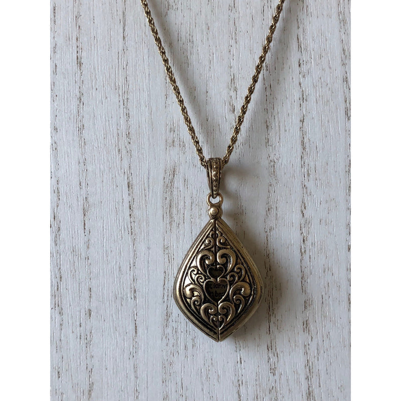 The Fast Flash! Hidden Message Locket-Gold/Teardrop