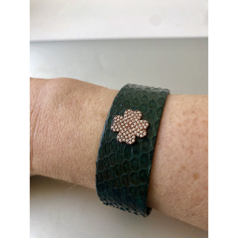 Sample Sale!  Forest Green Leather Covered Cuff